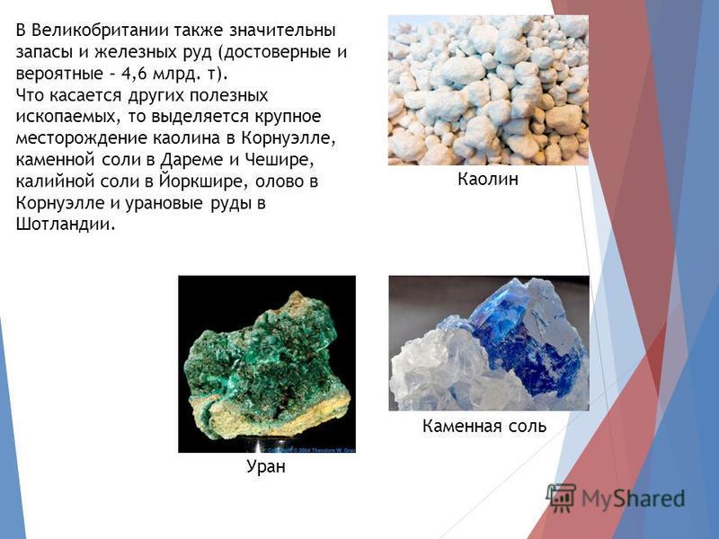 В Великобритании также значительны запасы и железных руд (достоверные и вероятные – 4,6 млрд. т). Что касается других полезных ископаемых, то выделяется крупное месторождение каолина в Корнуэлле, каменной соли в Дареме и Чешире, калийной соли в Йоркш