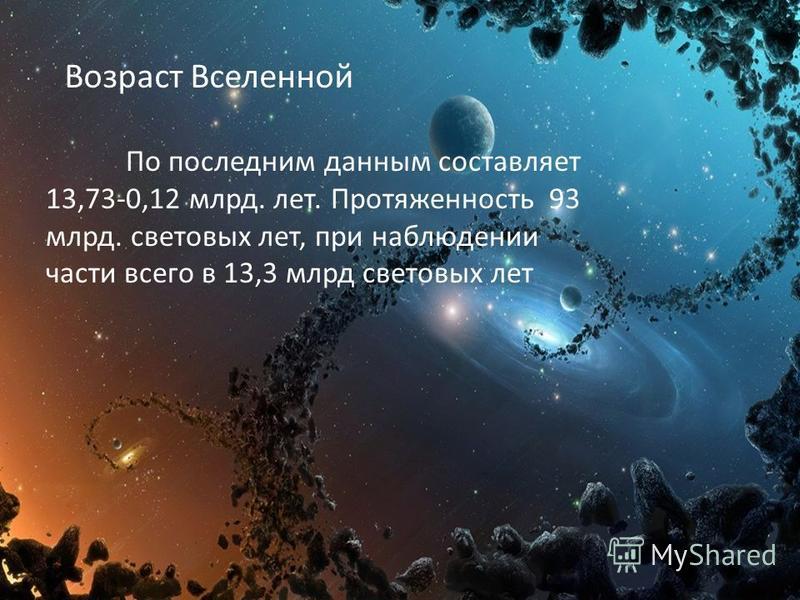 Возраст Вселенной По последним данным составляет 13,73-0,12 млрд. лет. Протяженность 93 млрд. световых лет, при наблюдении части всего в 13,3 млрд световых лет