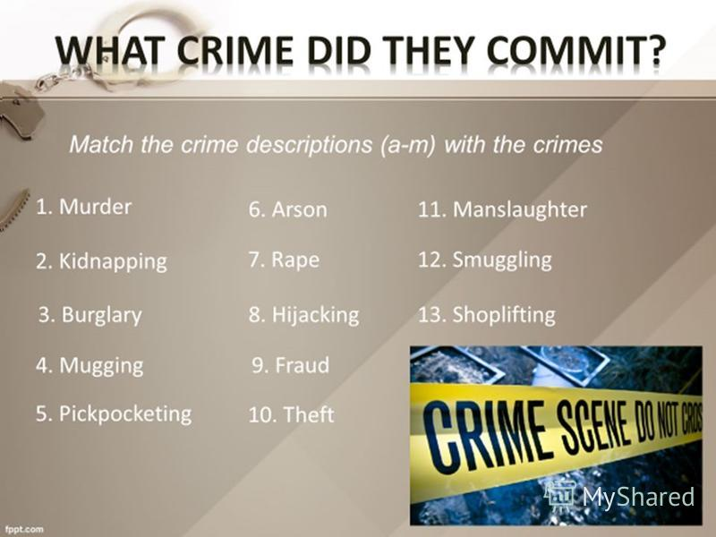 How many different kinds of crime can you name? 1 2 3 4 5 6 7 8 9
