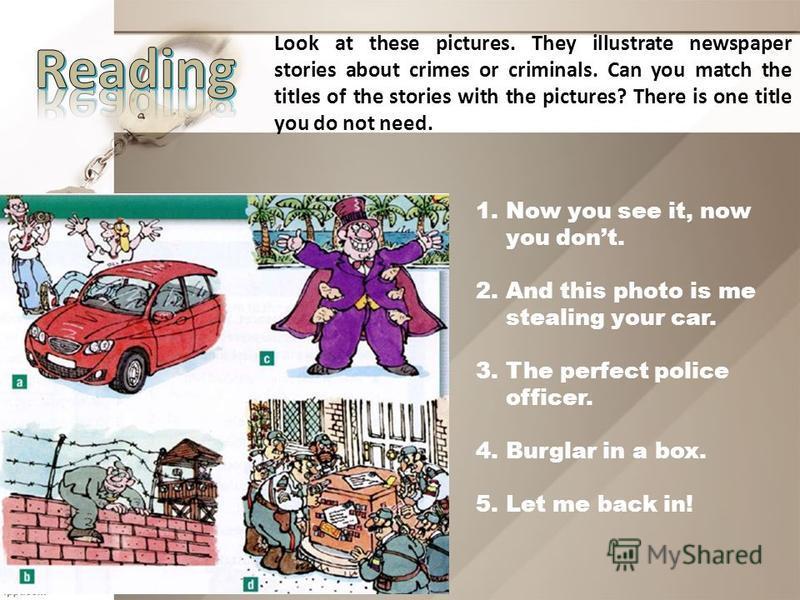 KEYS: c) 1. Murder h) 2. Kidnapping i) 3. Burglary l) 4. Mugging j) 5. Pickpocketing f) 6. Arson g) 7. Rape e) 8. Hijacking b) 9. Fraud d) 10. Theft a) 11. Manslaughter m) 12. Smuggling k) 13. Shoplifting