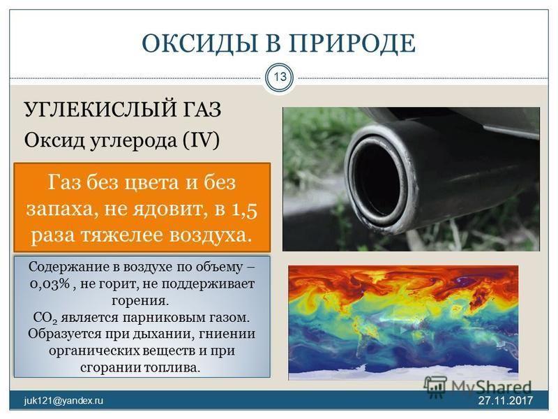 ОКСИДЫ В ПРИРОДЕ УГЛЕКИСЛЫЙ ГАЗ Оксид углерода (IV) 27.11.2017 juk121@yandex.ru 13 Газ без цвета и без запаха, не ядовит, в 1,5 раза тяжелее воздуха. Содержание в воздухе по объему – 0,03%, не горит, не поддерживает горения. СО 2 является парниковым