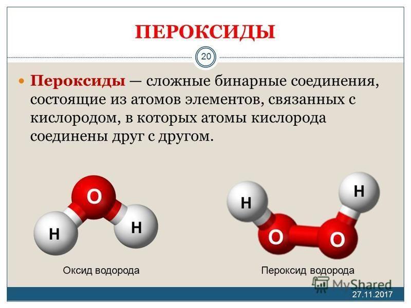 ПЕРОКСИДЫ Пероксиды сложные бинарные соединения, состоящие из атомов элементов, связанных с кислородом, в которых атомы кислорода соединены друг с другом. 27.11.2017 20 H H H H O O O Оксид водорода Пероксид водорода