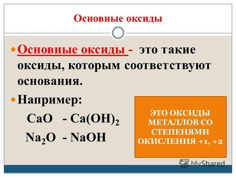 Основные оксиды Основные оксиды - это такие оксиды, которым соответствуют основания. Например: СаО - Са(ОН) 2 Na 2 O - NaOH ЭТО ОКСИДЫ МЕТАЛЛОВ СО СТЕПЕНЯМИ ОКИСЛЕНИЯ +1, +2