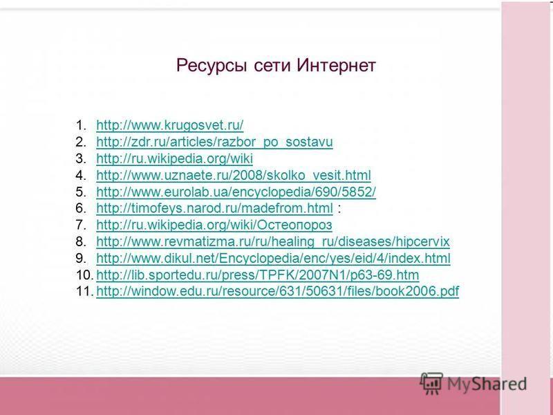 1.http://www.krugosvet.ru/http://www.krugosvet.ru/ 2.http://zdr.ru/articles/razbor_po_sostavuhttp://zdr.ru/articles/razbor_po_sostavu 3.http://ru.wikipedia.org/wikihttp://ru.wikipedia.org/wiki 4.http://www.uznaete.ru/2008/skolko_vesit.htmlhttp://www.