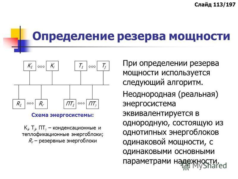 Определение резерва мощности При определении резерва мощности используется следующий алгоритм. KiKi K1K1 T1T1 TjTj ПТ RrRr R1R1 ПТ 1 Схема энергосистемы: К i, T j, ПТ – конденсационные и теплофикационные энергоблоки; R r – резервные энергоблоки Неодн