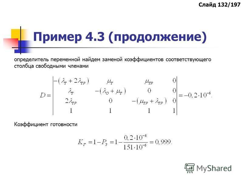 Пример 4.3 (продолжение) определитель переменной найдем заменой коэффициентов соответствующего столбца свободными членами Коэффициент готовности Слайд 132/197
