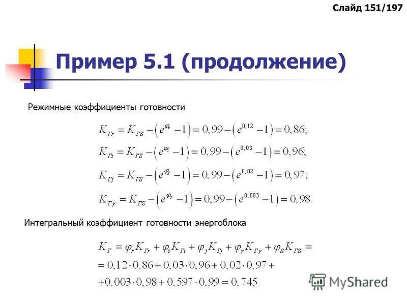 Пример 5.1 (продолжение) Режимные коэффициенты готовности Интегральный коэффициент готовности энергоблока Слайд 151/197