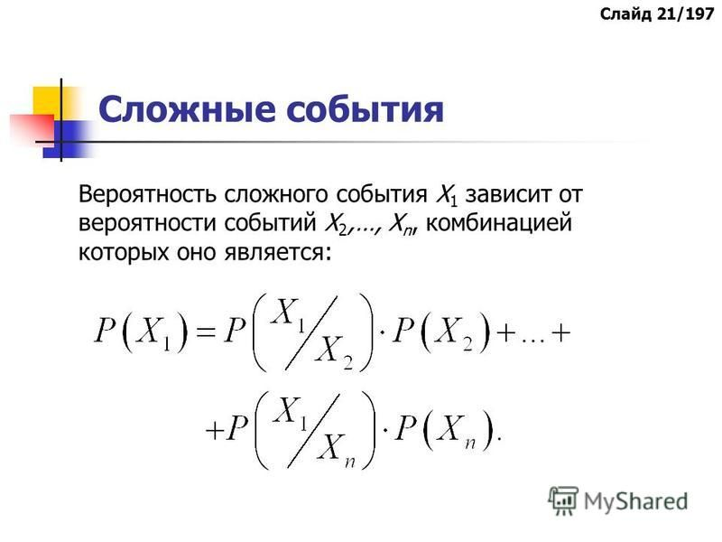 Сложные события Вероятность сложного события Х 1 зависит от вероятности событий Х 2,…, Х n, комбинацией которых оно является: Слайд 21/197