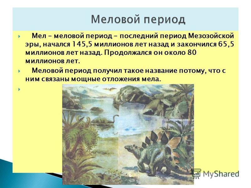 Мел – меловой период – последний период Мезозойской эры, начался 145,5 миллионов лет назад и закончился 65,5 миллионов лет назад. Продолжался он около 80 миллионов лет. Меловой период получил такое название потому, что с ним связаны мощные отложения