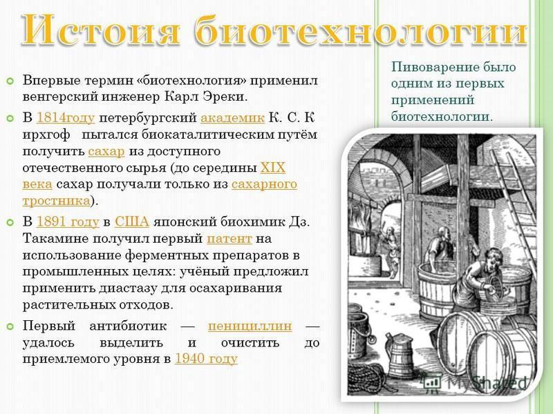 Впервые термин «биотехнология» применил венгерский инженер Карл Эреки. В 1814 году петербургский академик К. С. К ирхгоф пытался биокаталитическим путём получить сахар из доступного отечественного сырья (до середины XIX века сахар получали только из