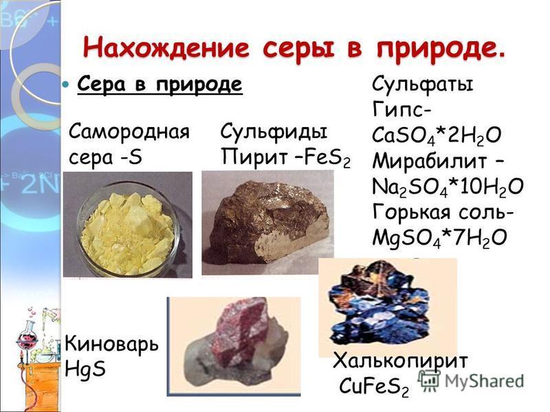 Нахождение серы в природе. Сера в природе Самородная сера -S Сульфиды Пирит –FeS 2 Сульфаты Гипс- СаSO 4 *2H 2 O Мирабилит – Na 2 SO 4 *10H 2 O Горькая соль- MgSO 4 *7H 2 O Киноварь HgS Халькопирит CuFeS 2