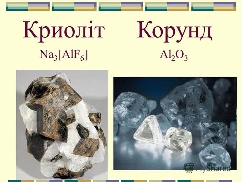 Криоліт Al 2 O 3 Корунд Na 3 [AlF 6 ]