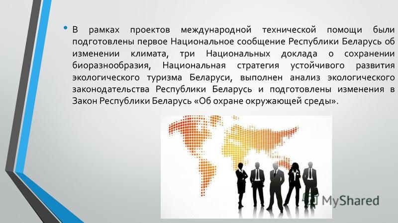 В рамках проектов международной технической помощи были подготовлены первое Национальное сообщение Республики Беларусь об изменении климата, три Национальных доклада о сохранении биоразнообразия, Национальная стратегия устойчивого развития экологичес