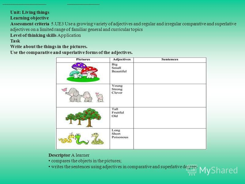 _______________________ _________________ Unit: Living things Learning objective Assessment criteria 5.UE3 Use a growing variety of adjectives and regular and irregular comparative and superlative adjectives on a limited range of familiar general and