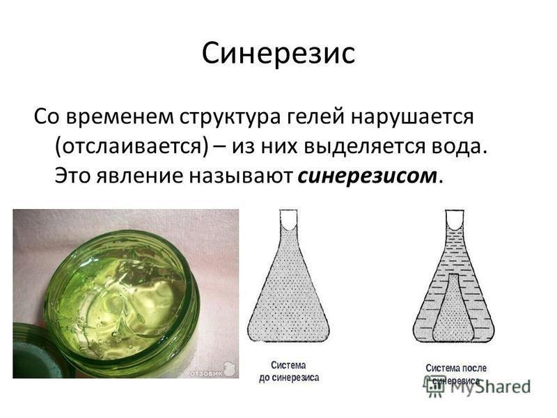 Синерезис Со временем структура гелей нарушается (отслаивается) – из них выделяется вода. Это явление называют синерезисом.
