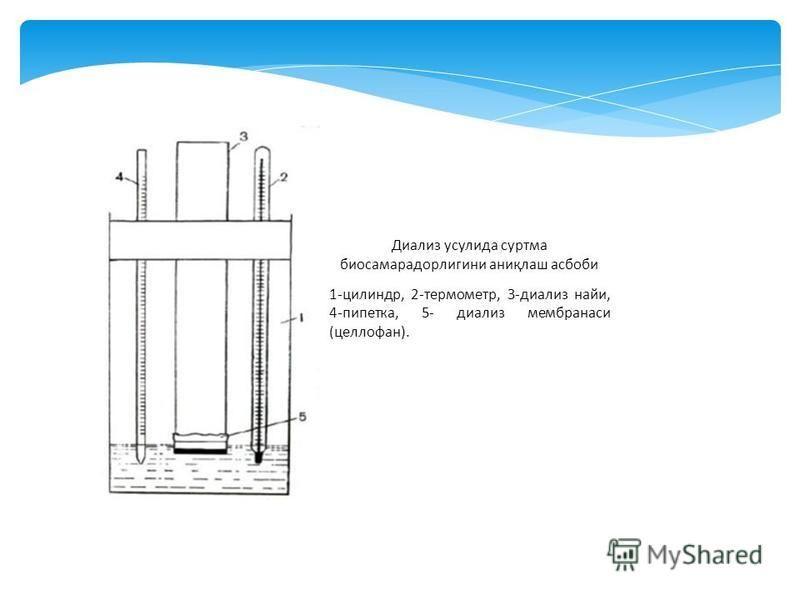 Диализ уснулида сурьма биосамарнадорлигини аниқлаш асбоби 1-цилиндр, 2-термометр, 3-диализ найи, 4-пипетка, 5- диализ мембранаси (целлофан).