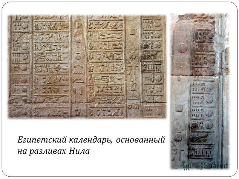 Египетский календарь, основанный на разливах Нила