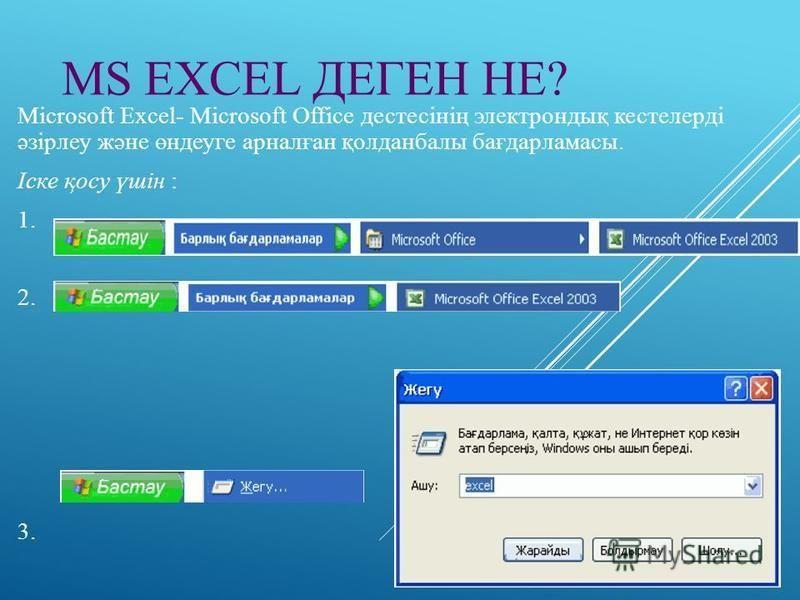MS EXCEL ДЕГЕН НЕ? Microsoft Excel- Microsoft Office дестесінің электрондық кестелерді әзірлеу және өндеуге арналған қолданбалы бағдарламасы. Іске қосу үшін : 1. 2. 3.