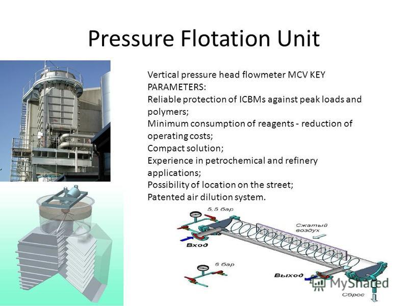 Pressure Flotation Unit Vertical pressure head flowmeter MCV KEY PARAMETERS: Reliable protection of ICBMs against peak loads and polymers; Minimum consumption of reagents - reduction of operating costs; Compact solution; Experience in petrochemical a