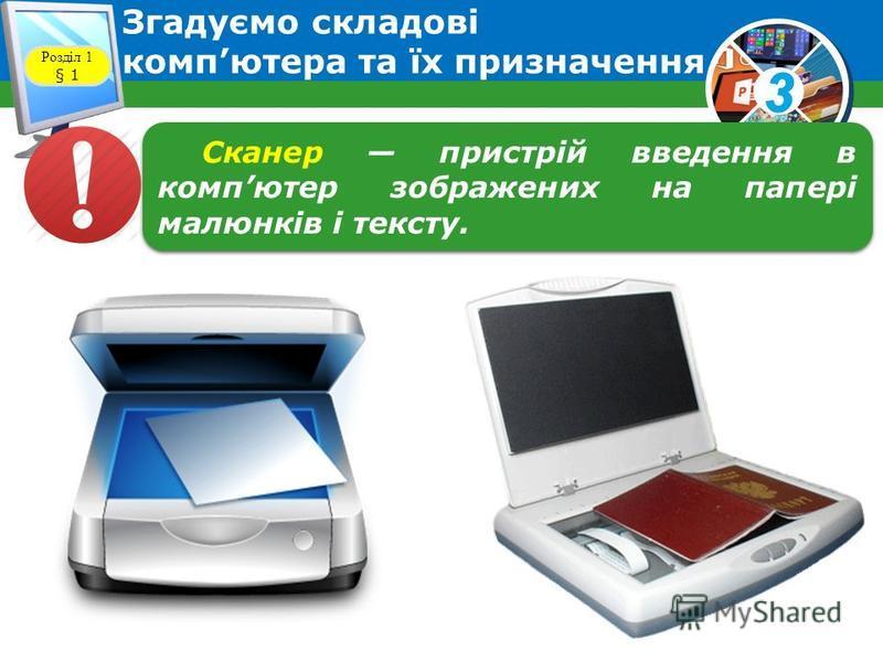 3 Згадуємо складові компютера та їх призначення Розділ 1 § 1 Розглянемо схему та зясуємо, яке призначення мають пристрої компютера.