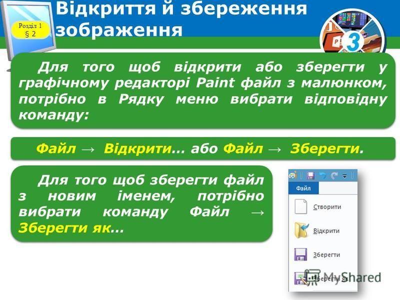 3 Відкриття й збереження зображення Розділ 1 § 2 Для того щоб відкрити або зберегти у графічному редакторі Paint файл з малюнком, потрібно в Рядку меню вибрати відповідну команду: Файл Відкрити… або Файл Зберегти. Для того щоб зберегти файл з новим