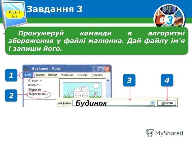 3 Завдання 3 Розділ 1 § 2 Пронумеруй команди в алгоритмі збереження у файлі малюнка. Дай файлу ім'я і запиши його. 1 1 2 2 3 3 4 4 Будинок
