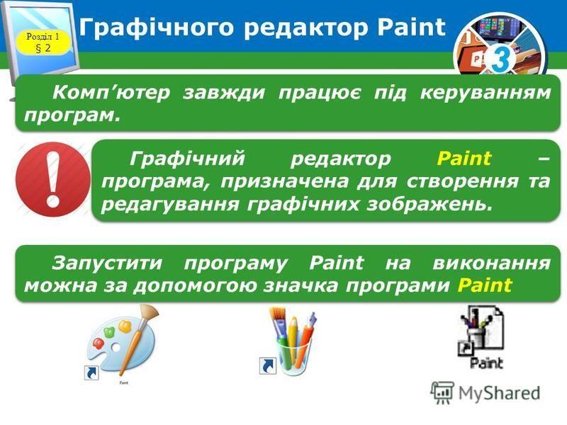 3 Графічного редактор Paint Розділ 1 § 2 Компютер завжди працює під керуванням програм. Графічний редактор Paint – програма, призначена для створення та редагування графічних зображень. Запустити програму Paint на виконання можна за допомогою значк