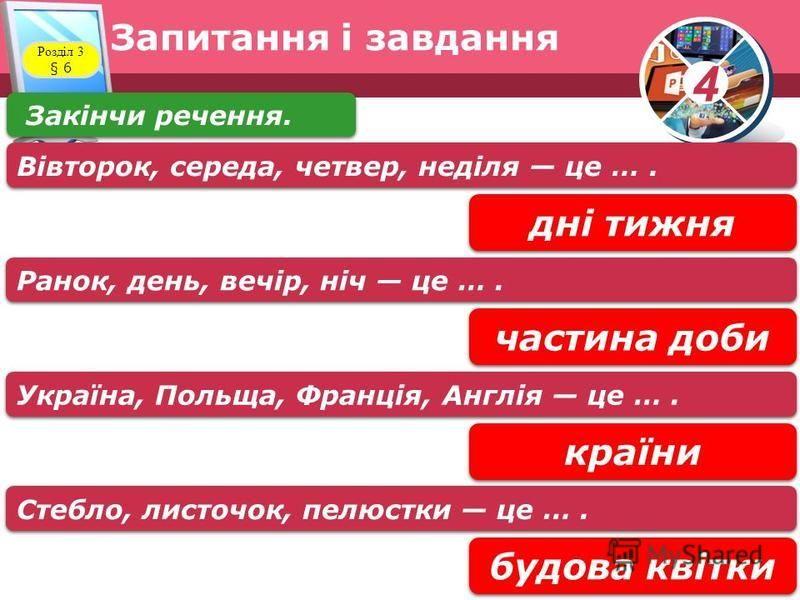 4 Запитання і завдання Розділ 3 § 6 Закінчи речення. дні тижня Вівторок, середа, четвер, неділя це …. частина доби Ранок, день, вечір, ніч це …. країни Україна, Польща, Франція, Англія це …. будова квітки Стебло, листочок, пелюстки це ….