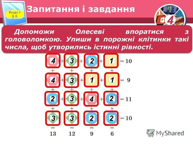 4 Запитання і завдання Розділ 3 § 6 Допоможи Олесеві впоратися з головоломкою. Упиши в порожні клітинки такі числа, щоб утворились істинні рівності. 3 3 3 3322 2 2 2 4 4 4 1 11