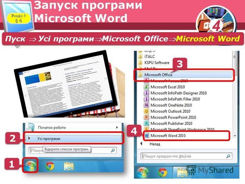 4 Розділ 3 § 6 Запуск програми Microsoft Word Пуск Усі програмиMicrosoft OfficeMicrosoft Word 1 1 2 2 4 4 00 3 3