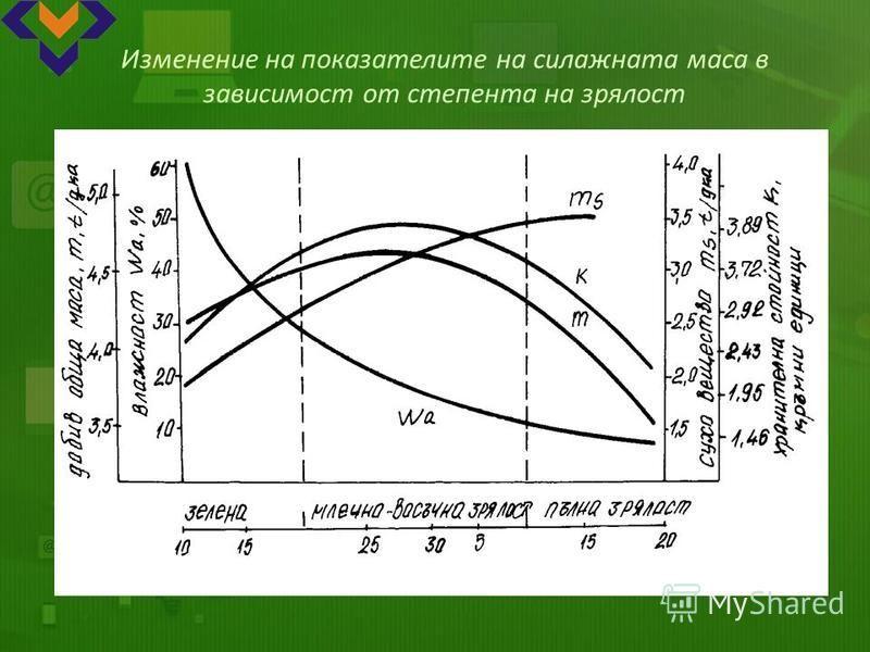 Изменение на показателите на силажната маса в зависимост от степента на зрялост