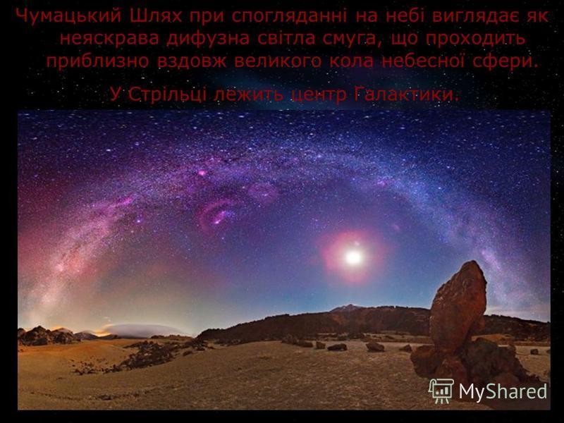 Чумацький Шлях при спогляданні на небі виглядає як неяскрава дифузна світла смуга, що проходить приблизно вздовж великого кола небесної сфери. У Стрільці лежить центр Галактики.