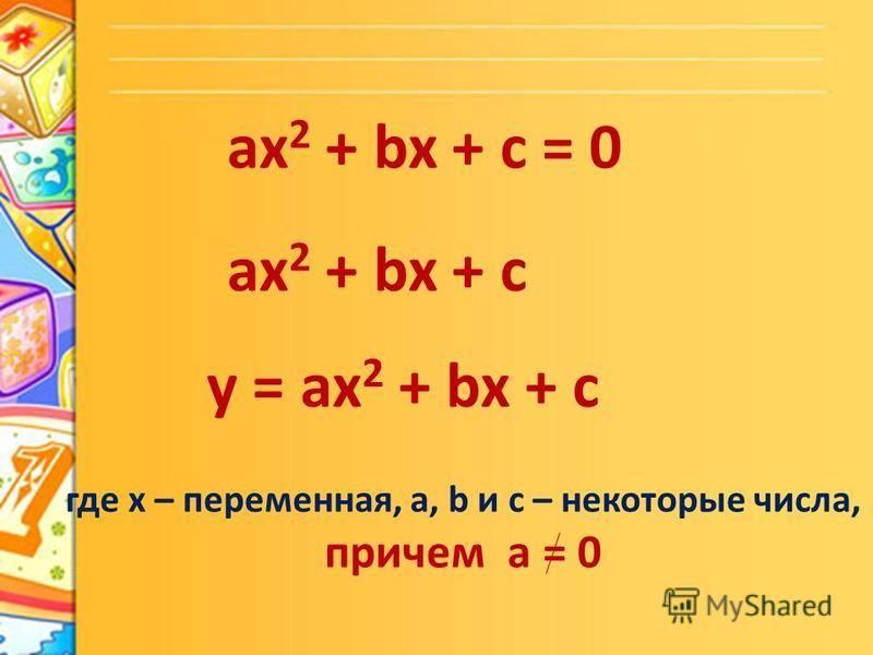 ax 2 + bx + c = 0 ax 2 + bx + c у = ax 2 + bx + c где х – переменная, а, b и с – некоторые числа, причем а = 0