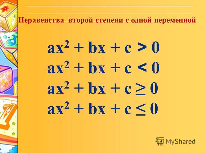 Неравенства второй степени с одной переменной ax 2 + bx + c > 0 ax 2 + bx + c < 0 ax 2 + bx + c 0