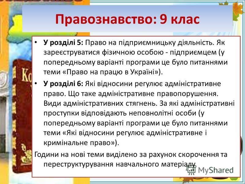 FokinaLida.75@mail.ru Правознавство: 9 клас У розділі 5: Право на підприємницьку діяльність. Як зареєструватися фізичною особою - підприємцем (у попередньому варіанті програми це було питаннями теми «Право на працю в Україні»). У розділі 6: Які відно