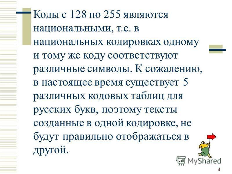 4 Коды с 128 по 255 являются национальными, т.е. в национальных кодировках одному и тому же коду соответствуют различные символы. К сожалению, в настоящее время существует 5 различных кодовых таблиц для русских букв, поэтому тексты созданные в одной