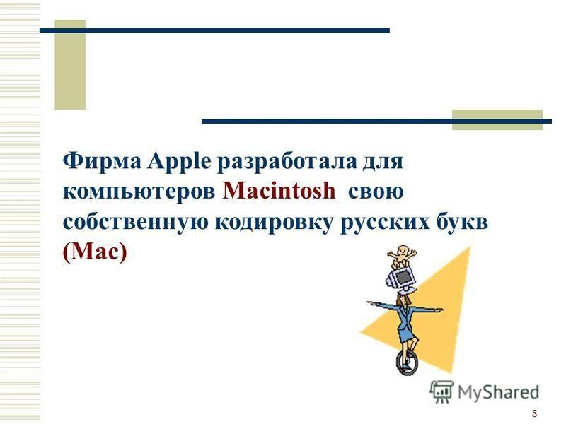 8 Фирма Apple разработала для компьютеров Macintosh свою собственную кодировку русских букв (Mac)