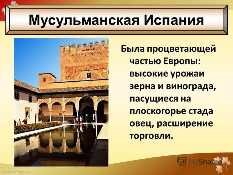 FokinaLida.75@mail.ru Была процветающей частью Европы: высокие урожаи зерна и винограда, пасущиеся на плоскогорье стада овец, расширение торговли. Мусульманская Испания