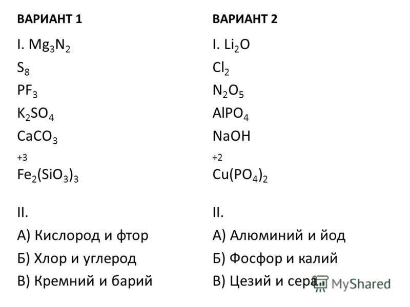 ВАРИАНТ 1 I. Mg 3 N 2 S 8 PF 3 K 2 SO 4 CaCO 3 +3 Fe 2 (SiO 3 ) 3 II. А) Кислород и фтор Б) Хлор и углерод В) Кремний и барий ВАРИАНТ 2 I. Li 2 O Cl 2 N 2 O 5 AlPO 4 NaOH +2 Cu(PO 4 ) 2 II. А) Алюминий и йод Б) Фосфор и калий В) Цезий и сера