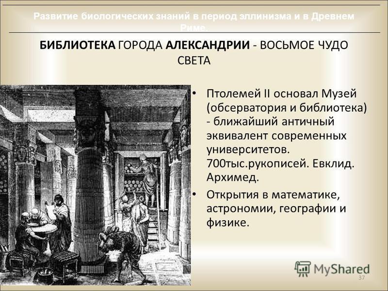БИБЛИОТЕКА ГОРОДА АЛЕКСАНДРИИ - ВОСЬМОЕ ЧУДО СВЕТА Птолемей II основал Музей (обсерватория и библиотека) - ближайший античный эквивалент современных университетов. 700 тыс.рукописей. Евклид. Архимед. Открытия в математике, астрономии, географии и физ
