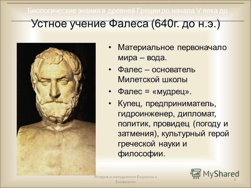 Устное учение Фалеса (640 г. до н.э.) Материальное первоначало мира – вода. Фалес – основатель Милетской школы Фалес = «мудрец». Купец, предприниматель, гидроинженер, дипломат, политик, провидец (погоду и затмения), культурный герой греческой науки и