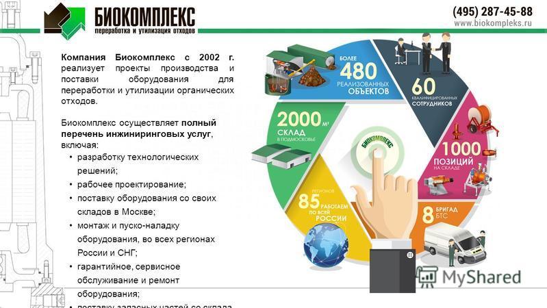 Компания Биокомплекс с 2002 г. реализует проекты производства и поставки оборудования для переработки и утилизации органических отходов. Биокомплекс осуществляет полный перечень инжиниринговых услуг, включая: разработку технологических решений; рабоч