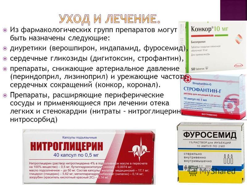 Из фармакологических групп препаратов могут быть назначены следующие: диуретики (верошпирон, индапамид, фуросемид), сердечные гликозиды (дигитоксин, строфантин), препараты, снижающие артериальное давление (периндоприл, лизиноприл) и уряжающие частоту