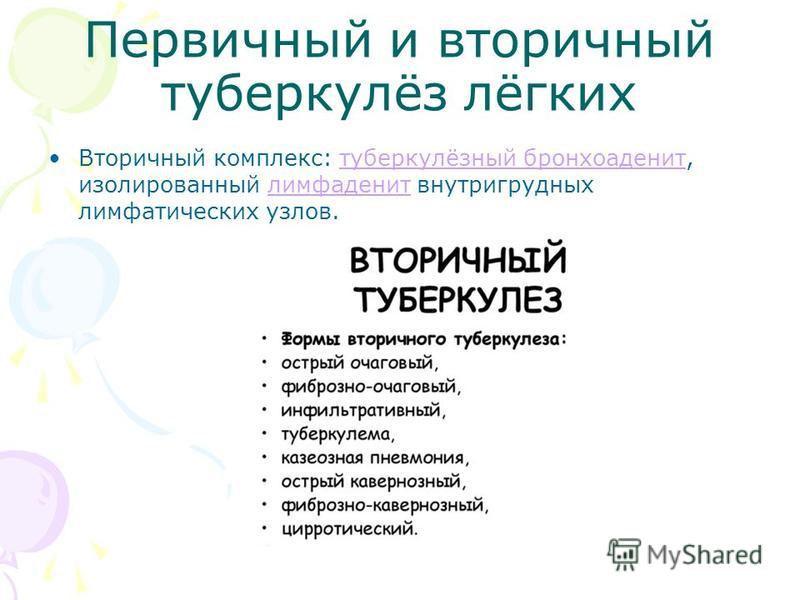 Первичный и вторичный туберкулёз лёгких Вторичный комплекс: туберкулёзный бронхоаденит, изолированный лимфаденит внутригрудных лимфатических узлов.туберкулёзный бронхоаденит лимфаденит