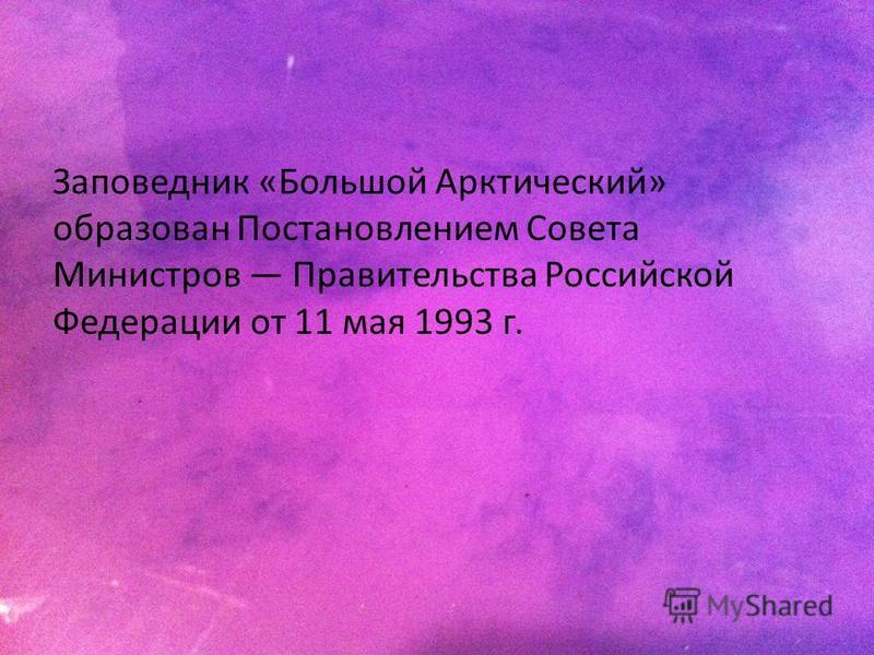 Заповедник «Большой Арктический» образован Постановлением Совета Министров Правительства Российской Федерации от 11 мая 1993 г.