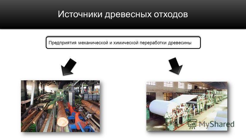 Источники древесных отходов Предприятия механической и химической переработки древесины