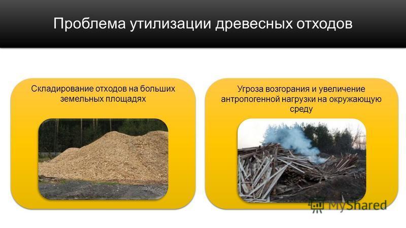 Проблема утилизации древесных отходов Складирование отходов на больших земельных площадях Угроза возгорания и увеличение антропогенной нагрузки на окружающую среду