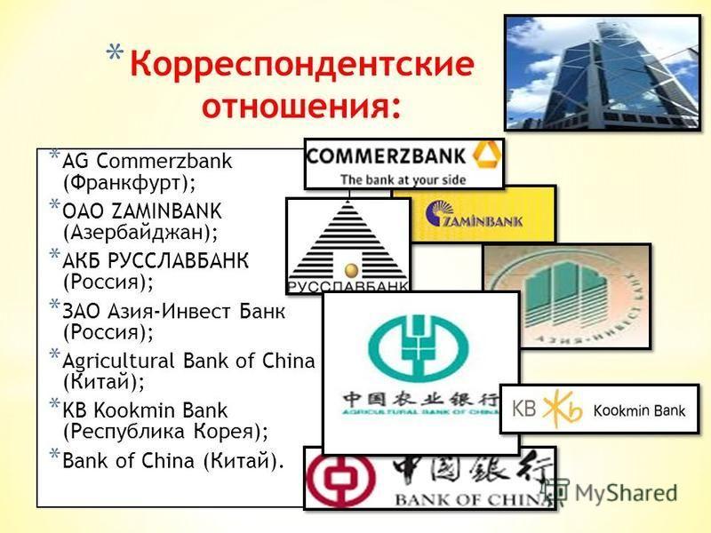 * Корреспондентские отношения: * AG Commerzbank (Франкфурт); * ОАО ZAMINBANK (Азербайджан); * АКБ РУССЛАВБАНК (Россия); * ЗАО Азия-Инвест Банк (Россия); * Agricultural Bank of China (Китай); * KB Kookmin Bank (Республика Корея); * Bank of China (Кита