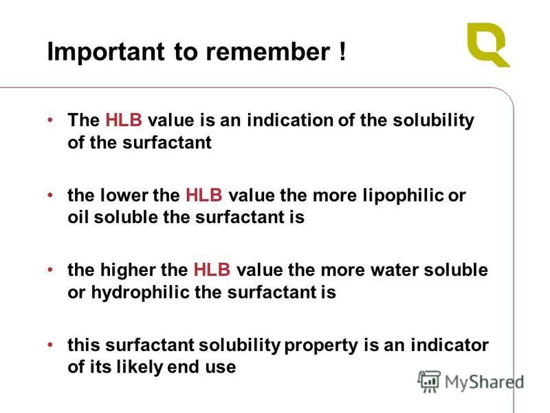 Important to remember ! The HLB value is an indication of the solubility of the surfactant the lower the HLB value the more lipophilic or oil soluble the surfactant is the higher the HLB value the more water soluble or hydrophilic the surfactant is t