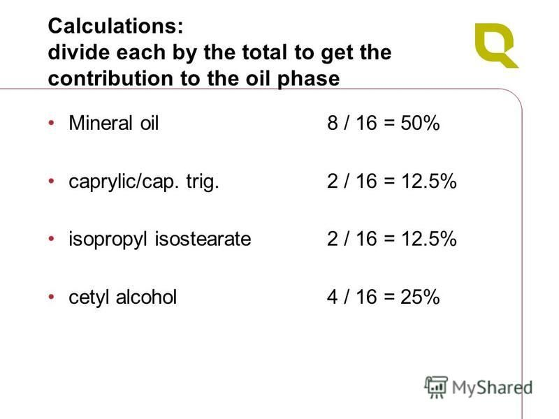 Calculations: divide each by the total to get the contribution to the oil phase Mineral oil8 / 16 = 50% caprylic/cap. trig.2 / 16 = 12.5% isopropyl isostearate2 / 16 = 12.5% cetyl alcohol4 / 16 = 25%